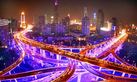 Shanghai: night view of elevated highways