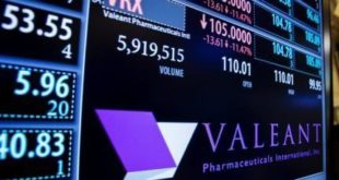 A board shows the name of Valeant Pharmaceuticals above the floor of the New York Stock Exchange shortly after the opening of the markets in New York October 22, 2015.  REUTERS/Lucas Jackson