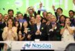 Talend executives and their spouses, including CEO Mike Tuchen (center) celebrate the company's initial public offering Friday.
