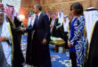 President Obama and First Lady Michelle Obama, joined by the new King Salman of Saudi Arabia, shake hands with members of the Saudi Royal Family at the Erqa Royal Palace in Riyadh, Saudi Arabia, on January 27, 2015, as they, U.S. Secretary of State John Kerry and other dignitaries extended condolences to the late King Abdullah and call upon and met with King Salman. (Photo by State Department) *** Please Use Credit from Credit Field *** (Newscom TagID: sipaphotosfive183721.jpg) [Photo via Newscom]