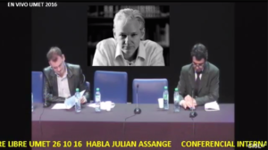 ASSANGE PROVES HE'S ALIVE, IN TIN POT S. AMERICAN PHONE CONFERENCE WITH UNIVERSITY OF BUENOS AIRES