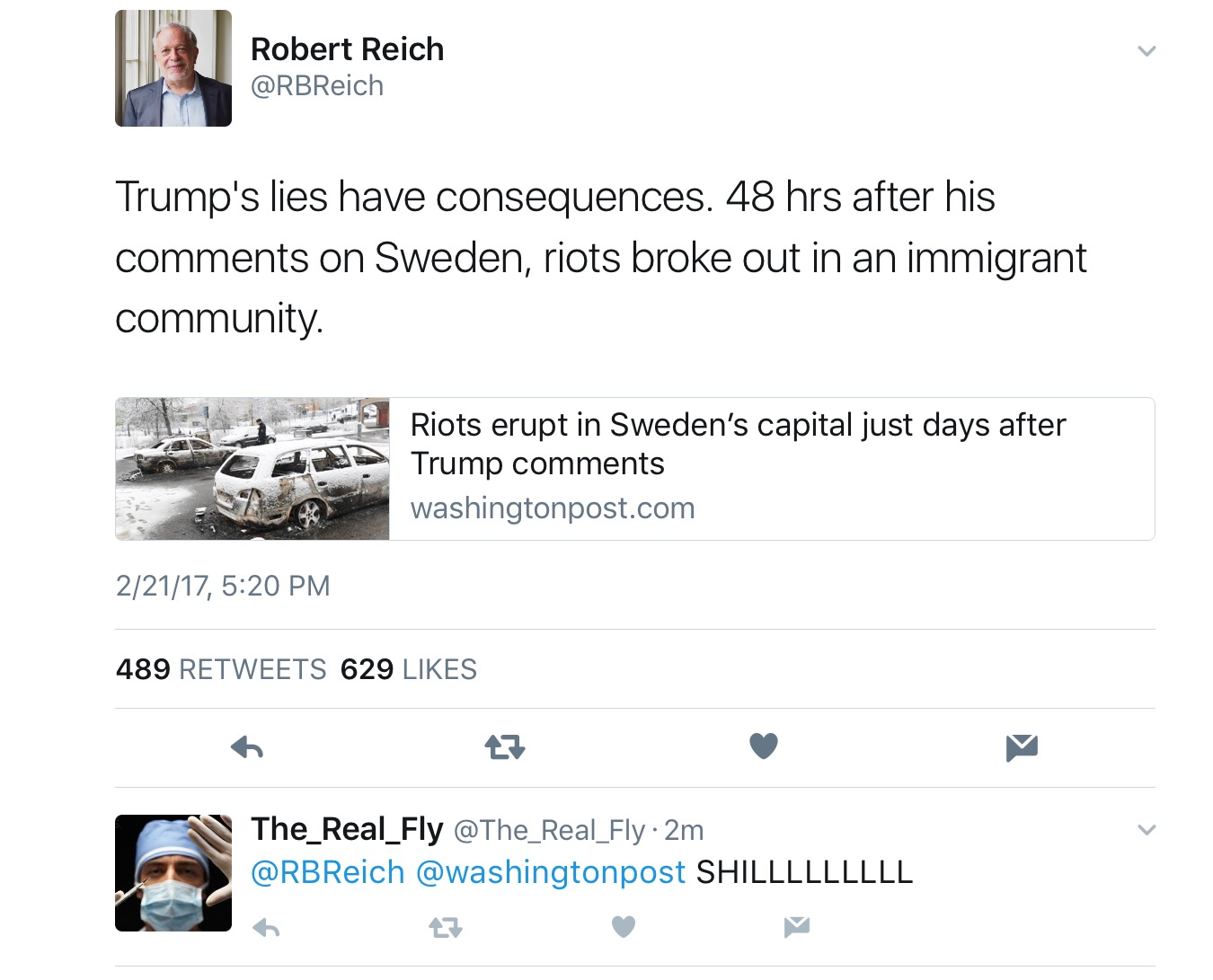 Former Secretary of Labor, Robert Reich, Blames Trump for Sweden's Riots