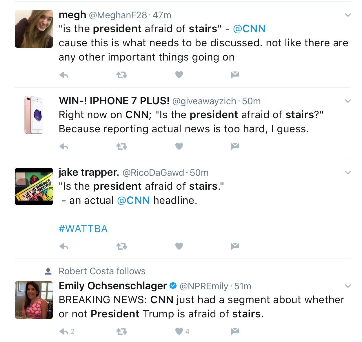 president afraid stairs video