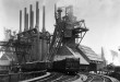 Original caption: Pittsburgh, PA.  Blast furnaces of the Carnegie Steel Corp.  Photograph shows an exterior of Steel Plant with smokestakes and railroad tracks.  Undated Photograph. Pittsburgh, Pennsylvania, USA