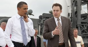 President Barack Obama tours the commercial rocket processing facility of Space Exploration Technologies, known as SpaceX, along with Elon Musk, SpaceX CEO at Cape Canaveral Air Force Station, Cape Canaveral, Fla. on Thursday, April 15, 2010.  Obama also visited the NASA Kennedy Space Center to deliver remarks on the bold new course the administration is charting to maintain U.S. leadership in human space flight. Photo Credit: (NASA/Bill Ingalls)