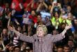 NEW YORK, NY - APRIL 19:  Democratic presidential candidate Hillary Clinton walks on stage after winning the highly contested New York primary on April 19, 2016 in New York City. Clinton, who had enjoyed a large lead over her rival Bernie Sanders only months ago, saw that lead shrink as the Sanders campaign made inroads with younger and more liberal voters.  (Photo by Spencer Platt/Getty Images)