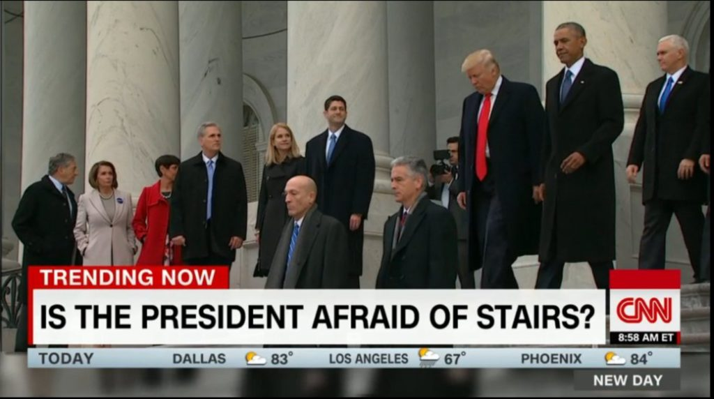 Lead Story This Morning on CNN: Is the President Afraid of Stairs?