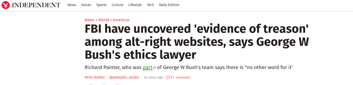 Former Attorney for George W. Bush, Richard Painter, Says Alt-Right Websites Are Guilty of Treason