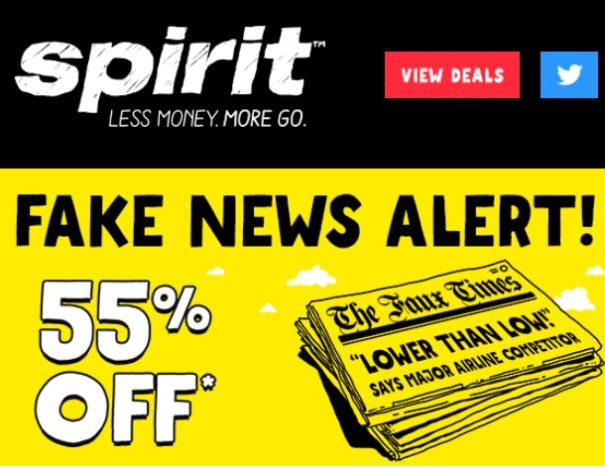 Spirit Airlines Claims All Other Airlines Are FAKE NEWS