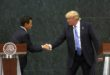 epaselect epa05517650 US Republican presidential candidate Donald Trump (R) shakes hands with President of Mexico Enrique Pena Nieto in Los Pinos, Mexico City, Mexico, 31 August 2016. Trump met with the Mexican President to discuss various bilateral issues, in particular migration policies, according to reports.  EPA/JORGE NUNEZ