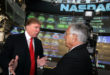 NEW YORK - SEPTEMBER 20:  Donald Trump (L) speaks with Frank Zarb, former CEO of the Nasdaq Stock Market, before opening the Nasdaq Market September 20, 2005 in New York City. Trump listed Trump Entertainment Resorts with Nasdaq.  (Photo by Michael Nagle/Getty Images)
